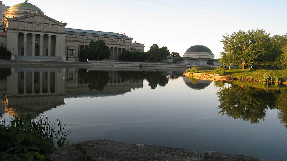 The Palace of Fine Arts today, looking north from Jackson Park, the old Fairgrounds.