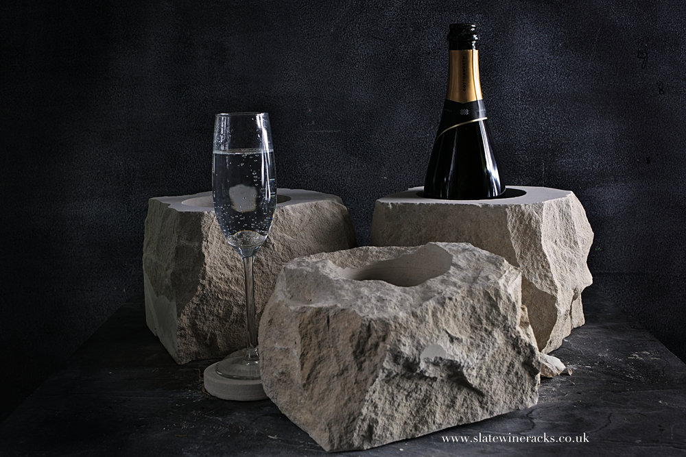 Champagne & Prosecco Coolers - Rouch chiseled or sawn straight