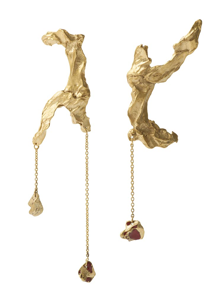 Loveness Lee Souhalt Earrings Gold with Red Enamel
