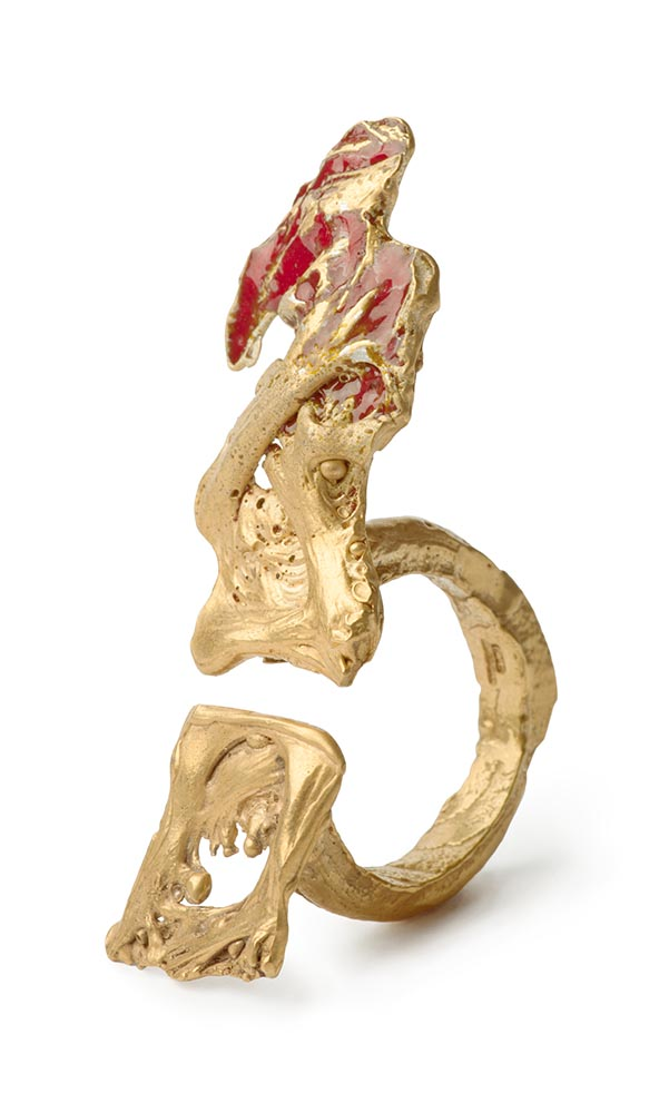 Loveness Lee Prémice Ensemble Ring Gold with Red Enamel