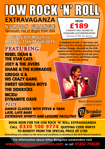 Norton Grange Rock 'n' Roll Extravaganza, Yarmouth, IOW - 8-11 March 2019 - download leaflet