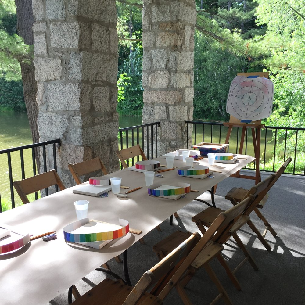 Mandala painting party at the DOC House, Dartmouth College, Hanover, NH