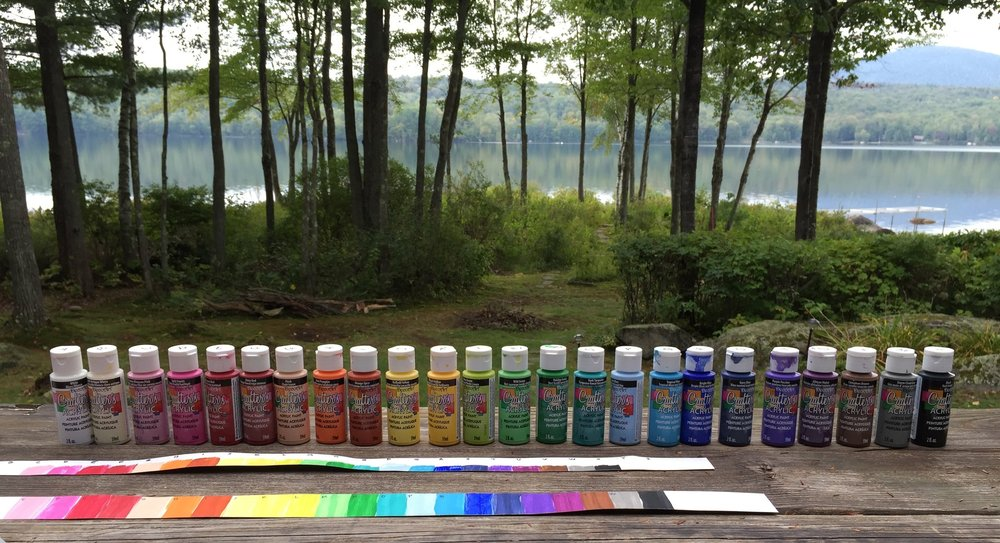 A painting class on the deck overlooking Goose Pond, Grafton County, NH