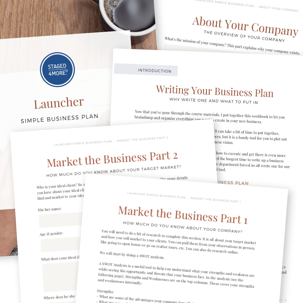 LAUNCHER Home Staging Course | Simple Business Plan for Home Stagers
