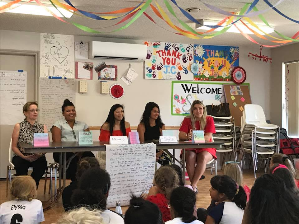 Nancy Thorne taking part in a panel of professional women to help encourage girls to follow their dreams and overcome obstacles.