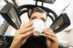 Coffee under hair dryer