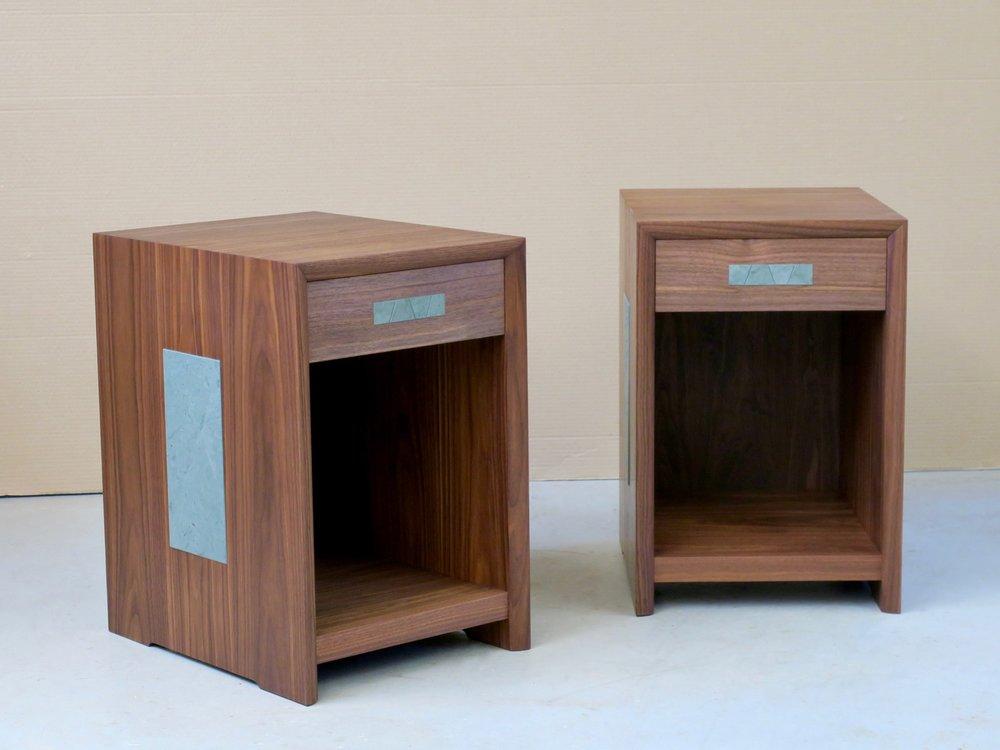 Ken and Keisha nightstands- walnut, claro walnut, slate inlay