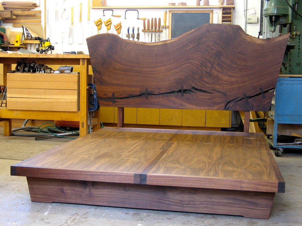 David and Rena bed - walnut, claro walnut