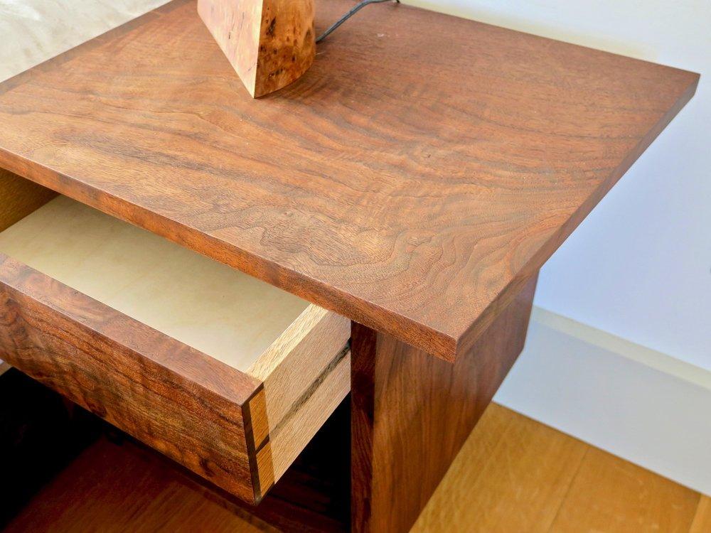 Kelley bed floating nightstands- claro walnut, white oak