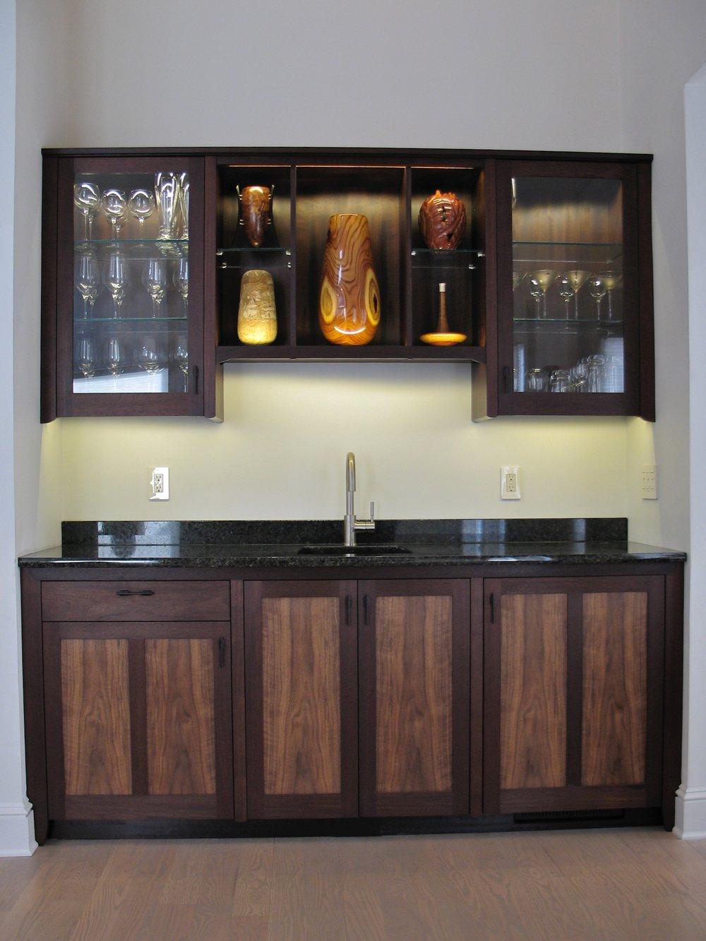 Ken's wetbar and dislplay- nogal, figured walnut, granite