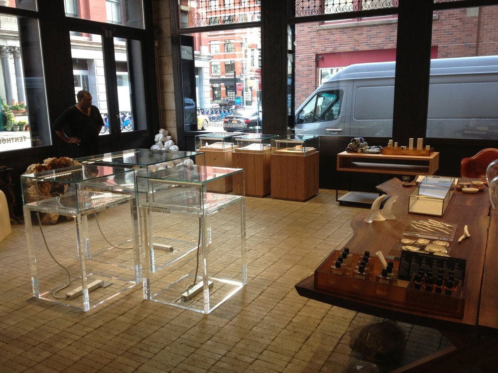 TTT tribeca- acrylic display cases, reclaimed southern yellow pine and glass cases, mobile display cart
