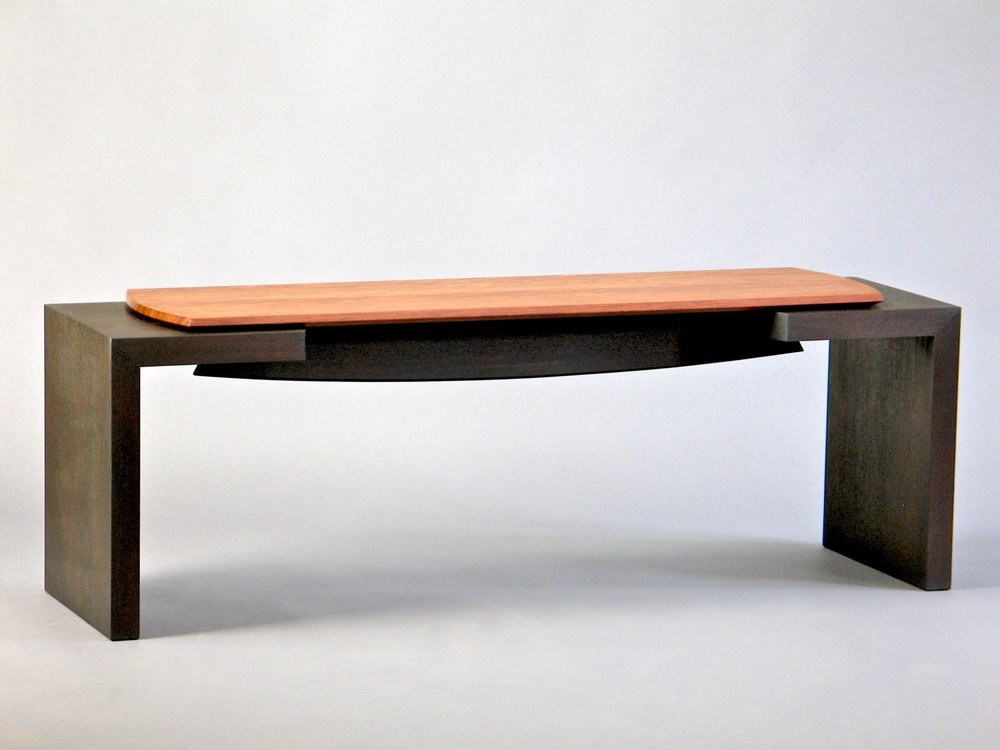 Havana Bench 1- ebonized walnut, bubinga