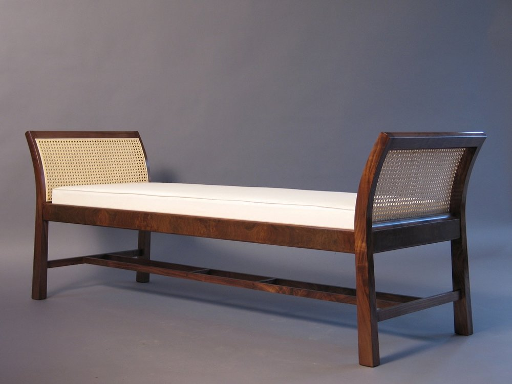 ML bench 1- walnut, cane, upholstery