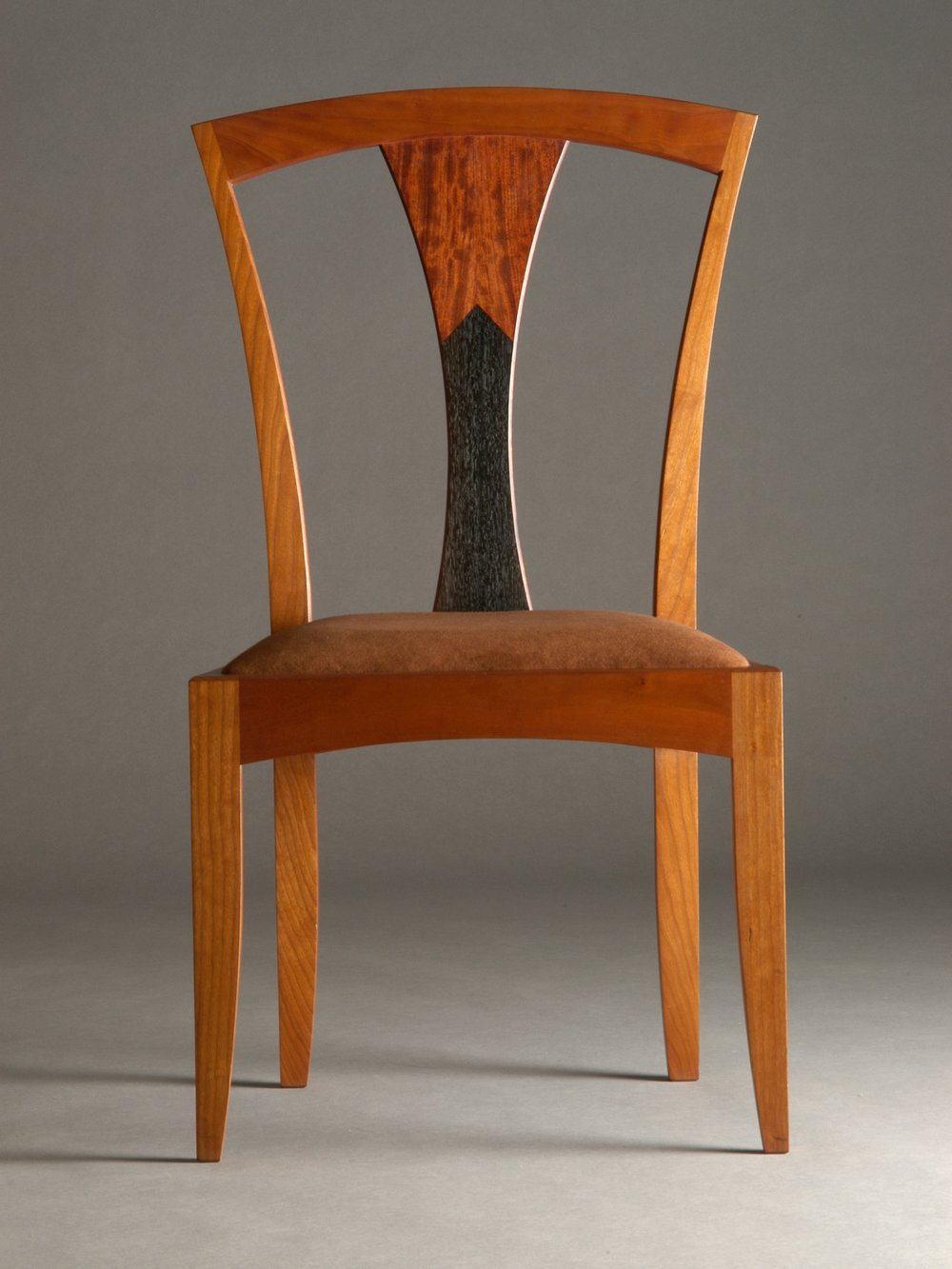 TL chair- cherry, bubinga, bog oak inlay