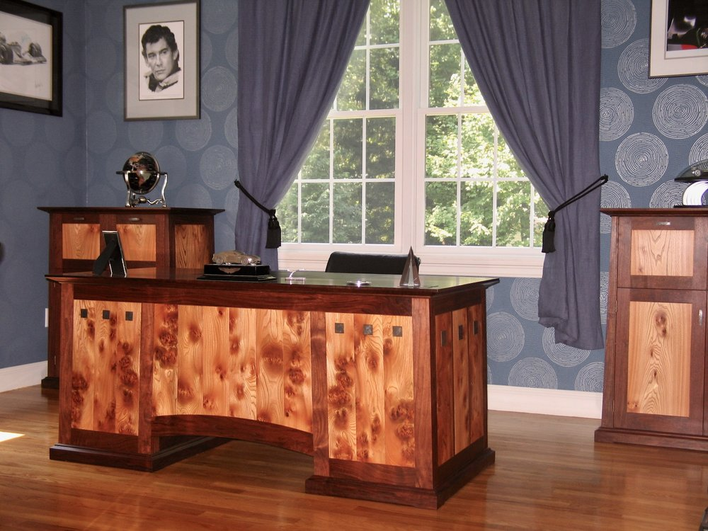 Atkins desk- walnut, english pippy elm