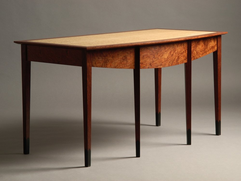 Kelley desk - bubinga, birdseye maple, ebony inlay
