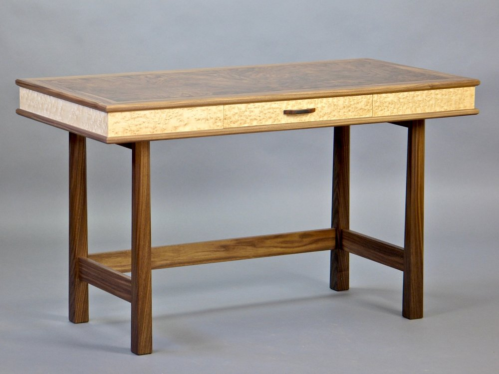 Perdersen desk - walnut, burl walnut, birdseye maple