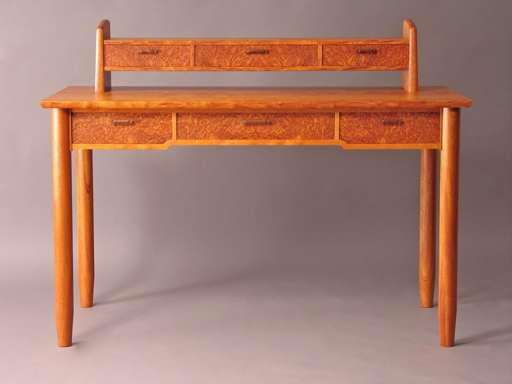 Howard desk - mahogany, redwood burl