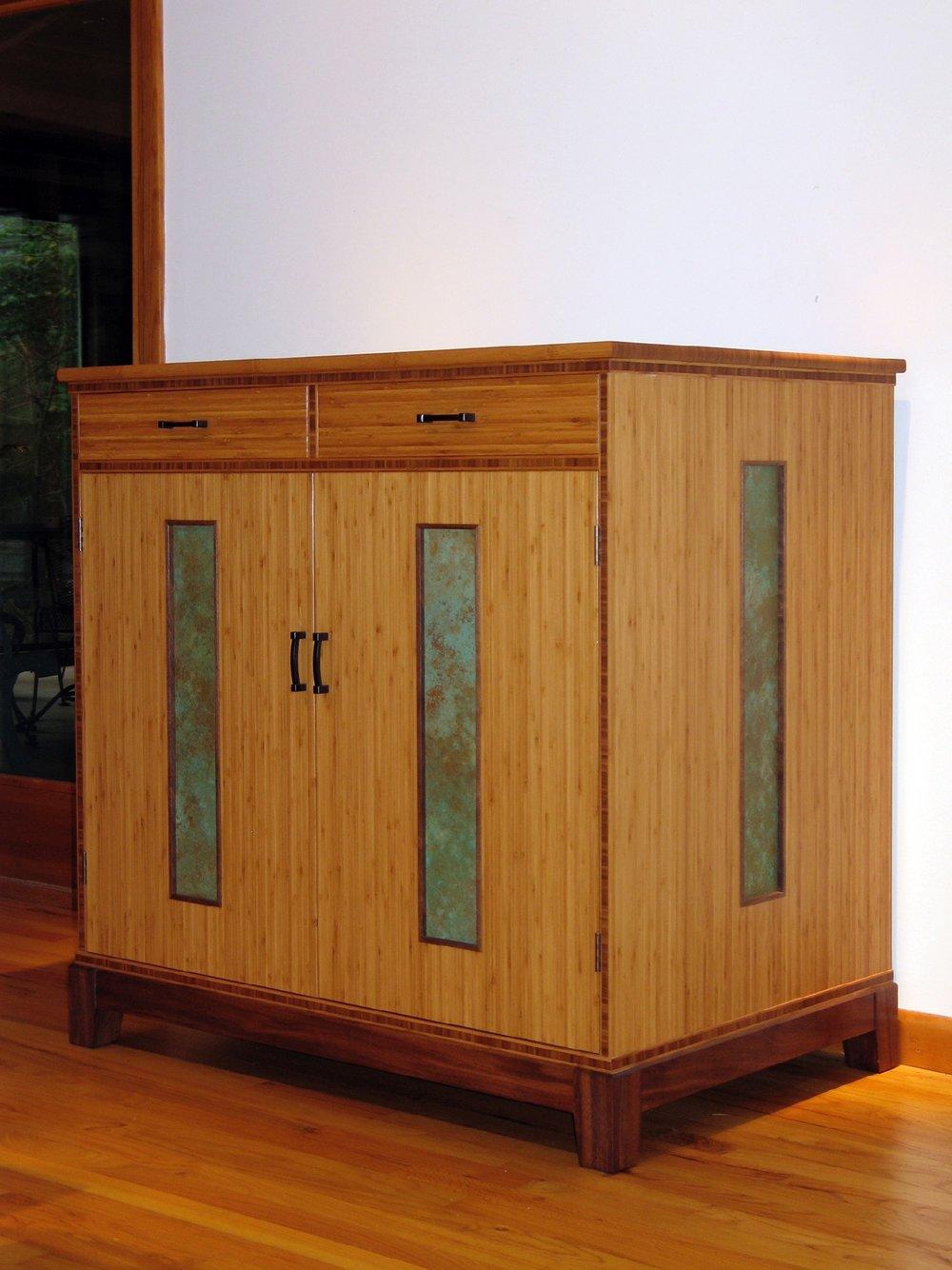 Kremer - bamboo, walnut, wenge, patinated copper panels
