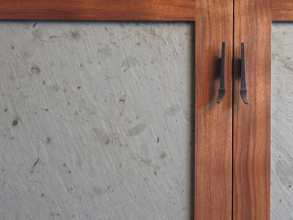 Camden detail- slate, walnut, hand carved bog oak pulls