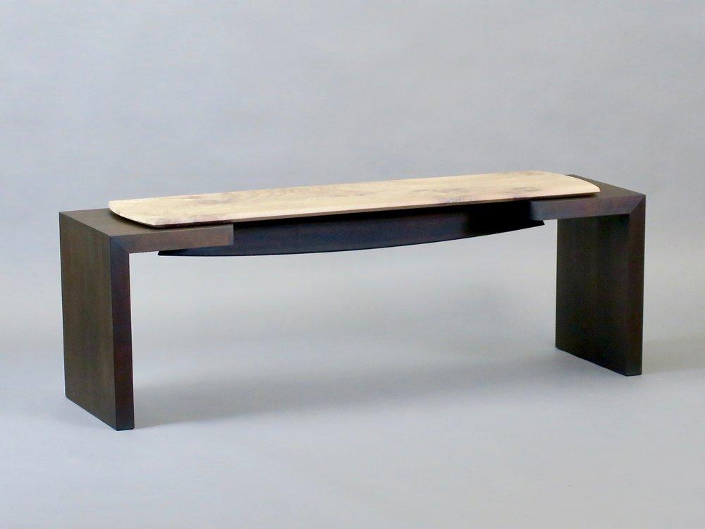 """Havana bench 3 - figured elm, ebonized walnut - w 53"""" x d 15"""" x h 18"""""""