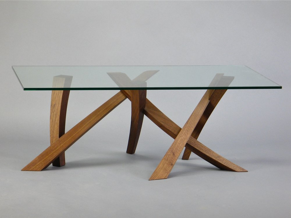 "Laguna low table 2 - walnut, glass - w 48"" x d 26"" x h 18"""