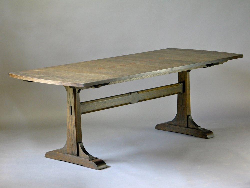 Pedersen dining table- fumed white oak, elm burl, ebony