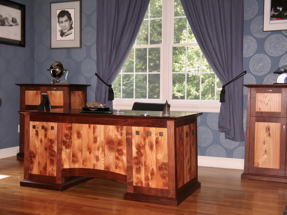 Atkins desk and cabinets, walnut, english pippy elm, inlaid Damascus steel medallions