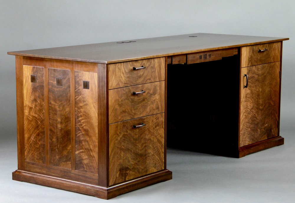 Gold desk - walnut, crotch walnut, inlaid wenge medallions wenge