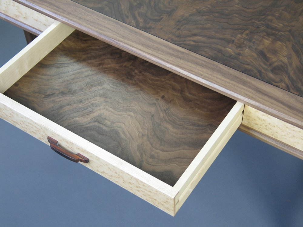 Perdersen desk - walnut, burl walnut, birdseye maple, hand carved cocobolo drawer pull, walnut drawer bottom