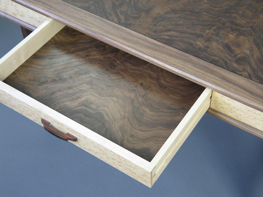 Perdersen desk - walnut, burl walnut, birdseye maple, hand carved cocobolo drawer pull, walnut drawer bottom