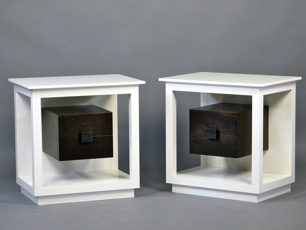 Gold nightstands - lacquered maple, imbuya, wenge