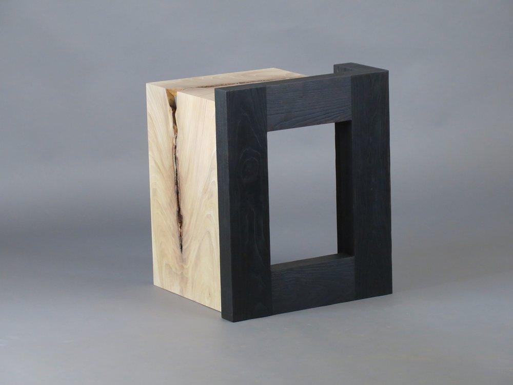 "Havana side table 2 - figured elm, scorched ash - w 19"" x d20"" x h 24"""