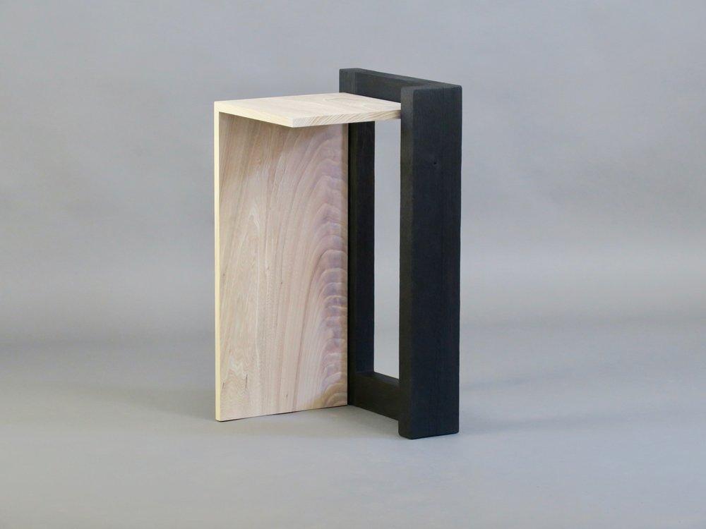 "Havana side table 2 - cerused elm, scorched oak - w 17"" x d16"" x h 30"""