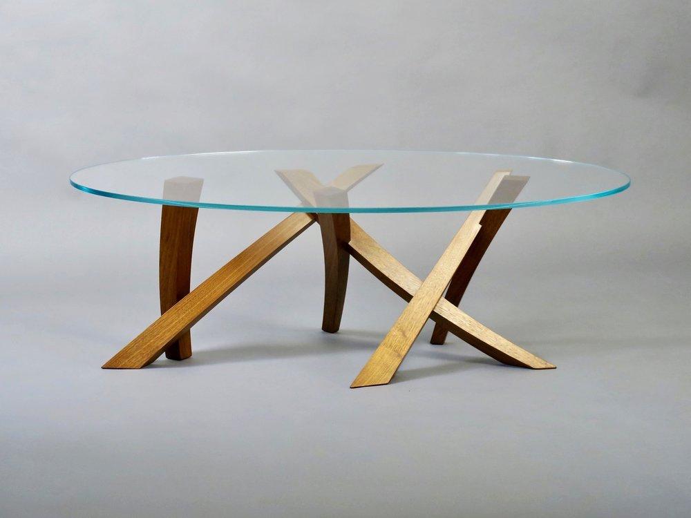 "Laguna low table 2 - walnut, oval glass - w 54"" x d 32"" x h 18"""