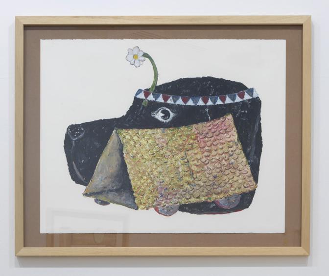 Poliorcetica     (labrador & tortoise)   oil pastel on paper  2017  150x110cm framed