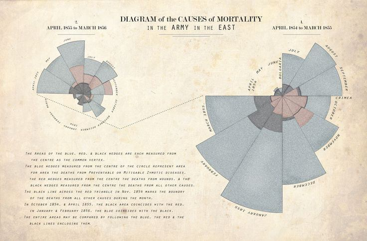 Florence Nightingale's 'Coxcomb' visualisation of causes of mortality in the army in the 1850s.