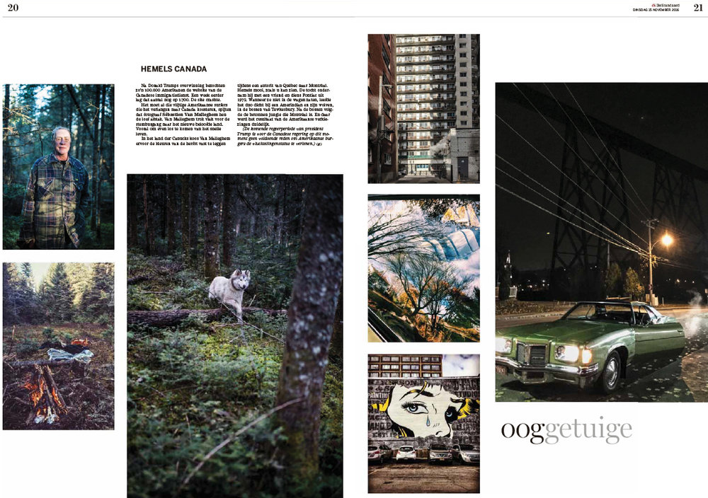 Quebec double page for De Standaard