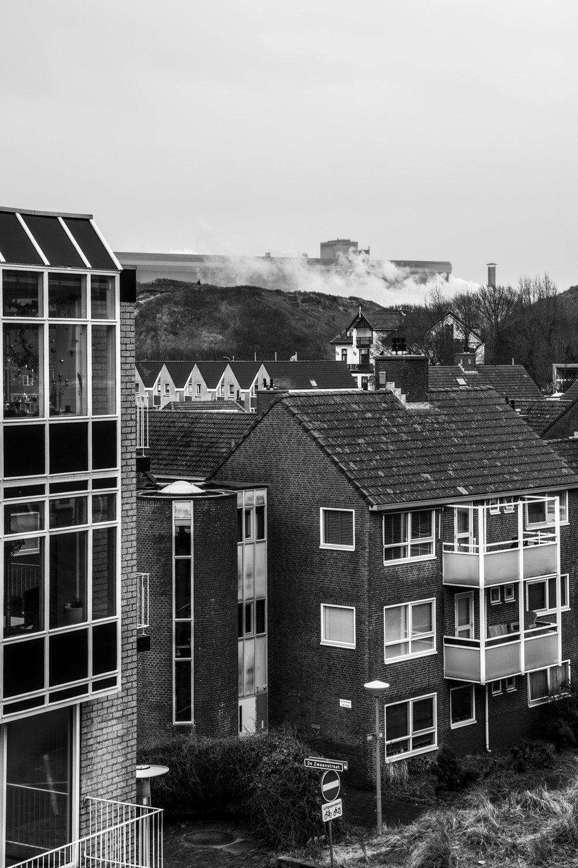 The factory of Tata Steel surrounding the town of Wijk aan Zee.