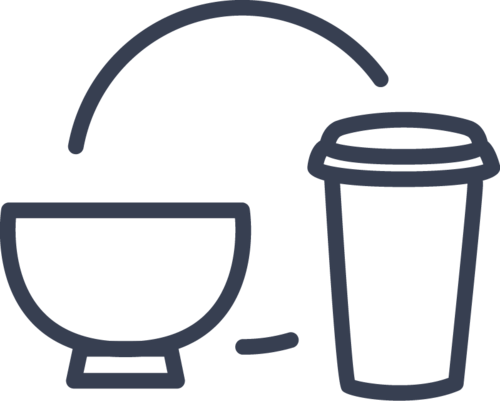 cup, bowl and plate icon