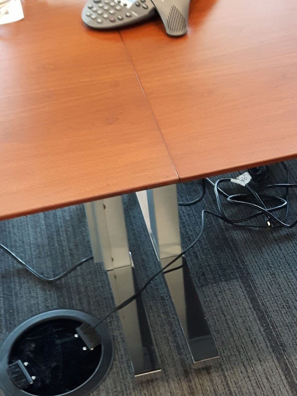 TUP BOARDROOM TABLE REPAIR TO REPLACE LARGE WOOD CHUNK MISSING FROM TABLE EDGE AFTER.jpg