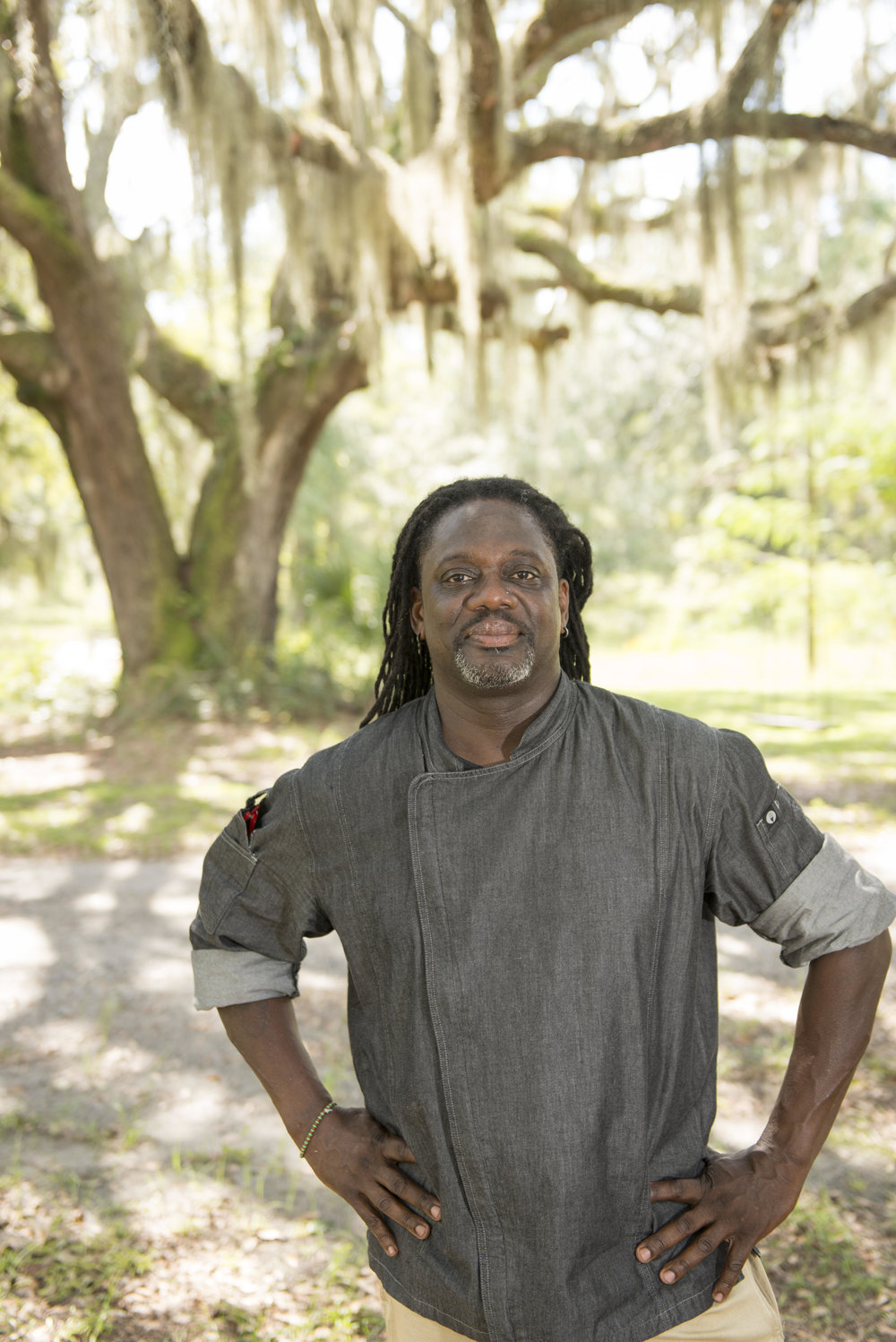 Matthew Raiford - Raiford grew up breaking the dirt and trading crookneck squash for sweet potatoes, raising hogs and chickens, and only going to the grocery store for sundries. After a military career then graduation from the Culinary Institute of America in Hyde Park, New York, Raiford returned to the farm in 2011 to continue the traditions of his Gullah-Geechee heritage and to create an authentic farm-to-fork experience for locals. He received certification as an ecological horticulturalist from the University of California's Santa Cruz Center for Agroecology and Sustainable Food Systems.He served until recently as the program coordinator and associate professor of culinary arts at the College of Coastal Georgia. In 2015, Raiford, the former executive chef at Little St. Simon's Resort, and his partner, Jovan Sage, a food alchemist, opened The Farmer and the Larder on Newcastle Street, helping jumpstart the revival of Brunswick's historic downtown. Raiford has appeared in Southern Living, Golden Isles, Paprika Southern, and Savannah magazines, and is a frequent presenter at food and wine festivals throughout the country.