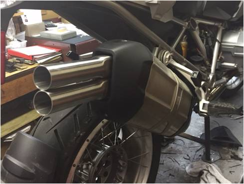 BMW R1200GSW-Exhaust Extension