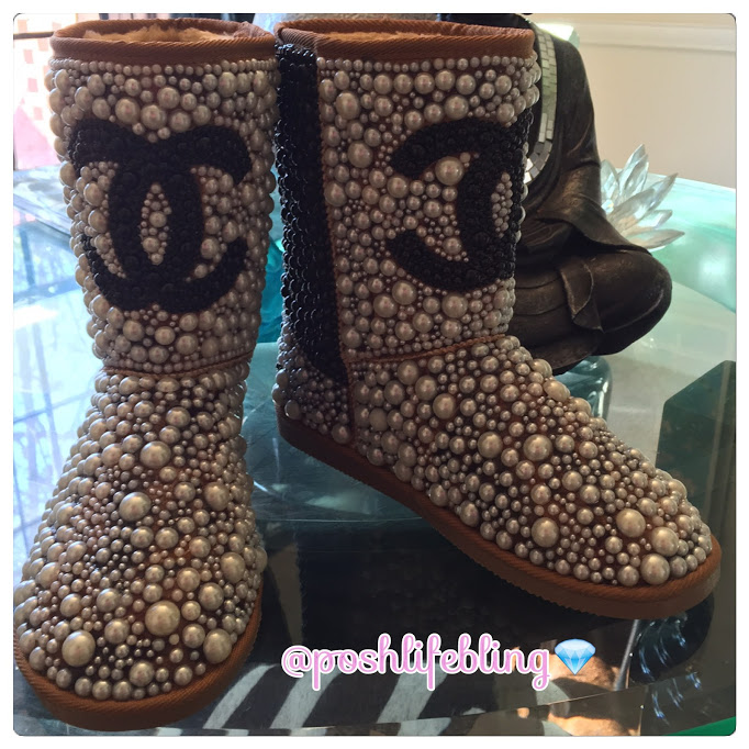 white & black chanel pearl boots.JPG