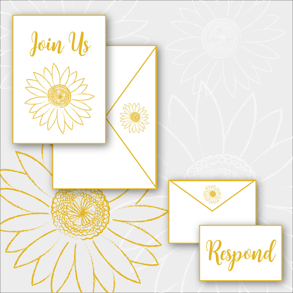 Daisy Package    >  Invitation + envelope  >  RSVP card + envelope  >  Digital printing on cotton, shimmer, or eggshell stock   $4.75 per suite + $350 custom design fee