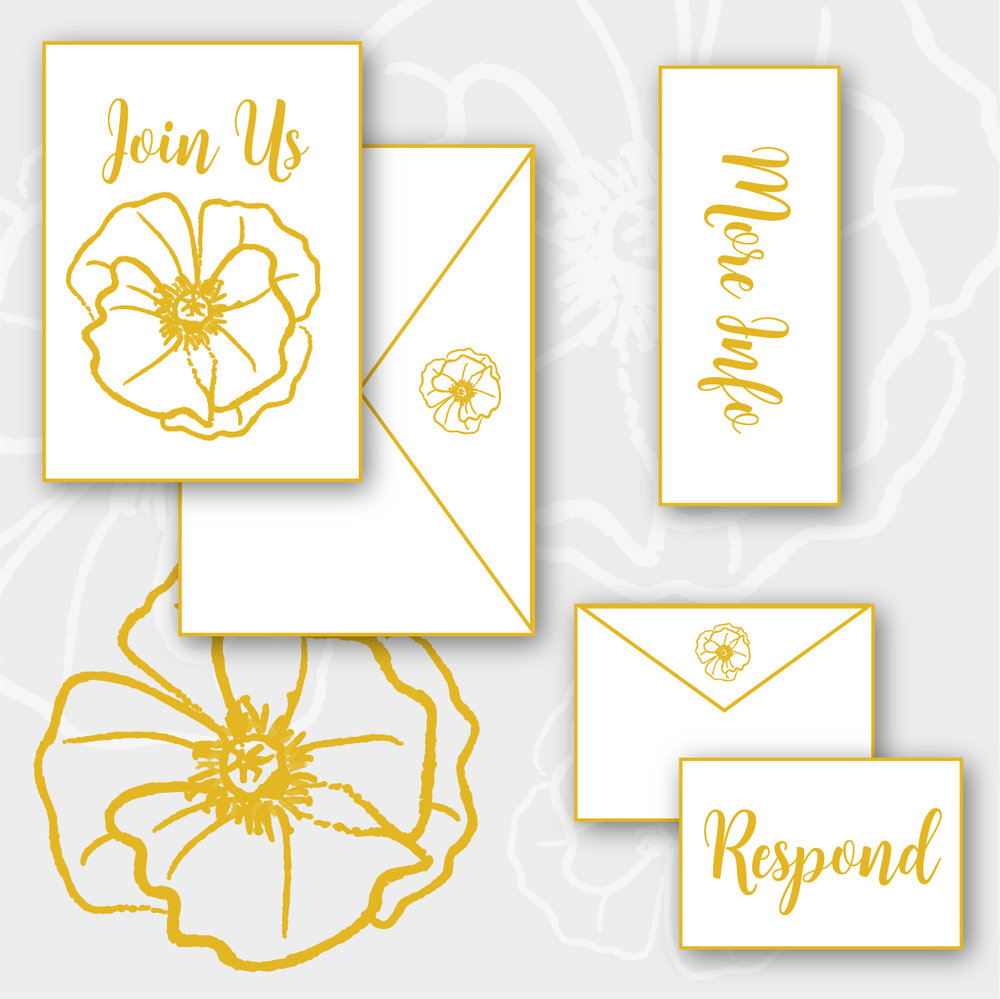 Poppy Package    >  Invitation + envelope  >  Enclosure card  >  RSVP card + envelope  >  Digital printing on cotton, shimmer, or eggshell stock   $6.55 per suite + $450 custom design fee