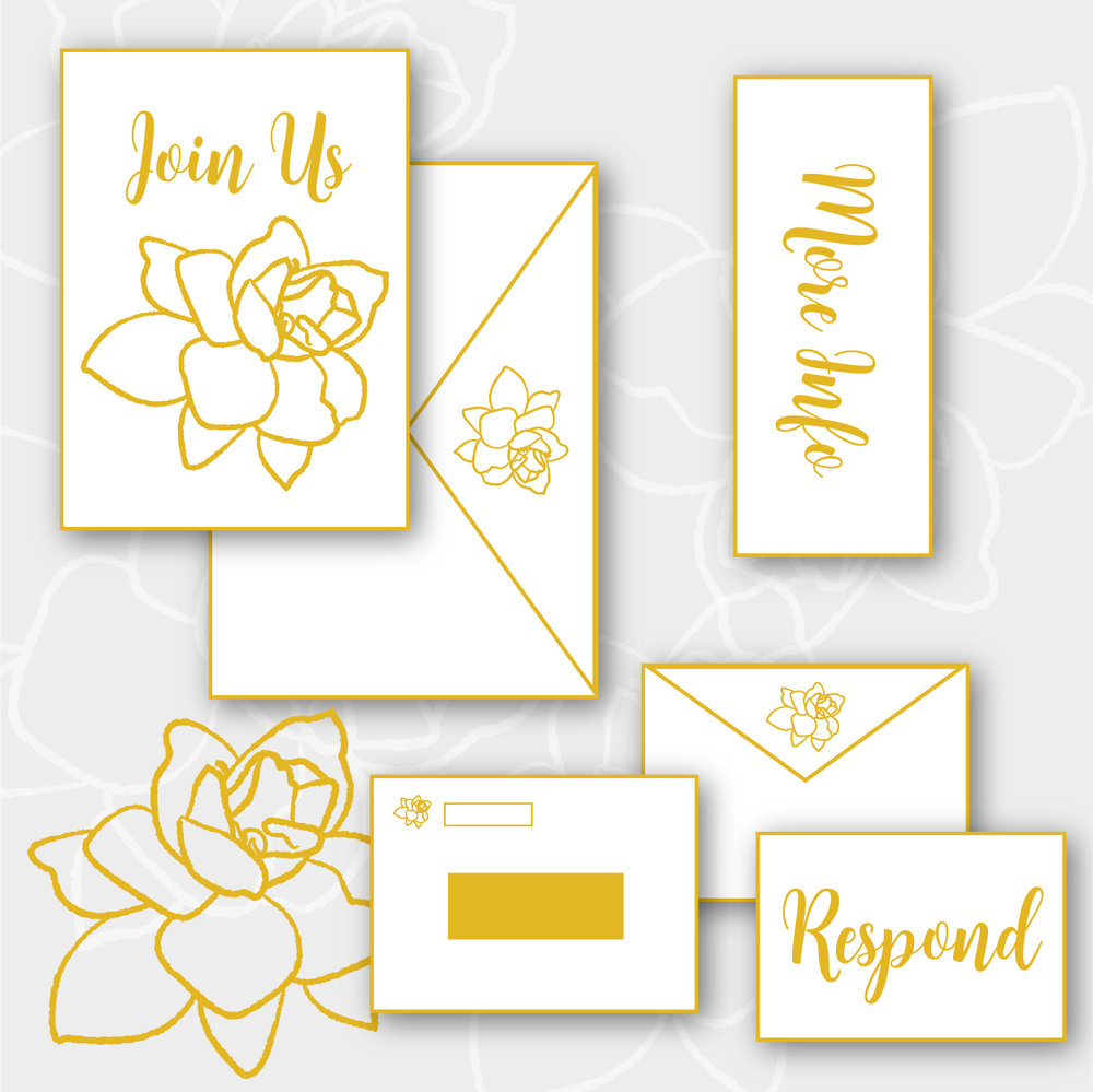 Gardenia Package    >  Invitation + envelope  >  Enclosure card  >  RSVP card + envelope  >  Guest address printing  >  Return address printing  >  Digital printing on cotton, shimmer, or eggshell stock   $8.75 per suite + $550 custom design fee