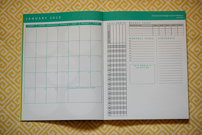 The Monthly Spread - You can reset each month (if you're not already resetting each week). Take time to build daily habits, keep track of birthdays, as well as the big picture.