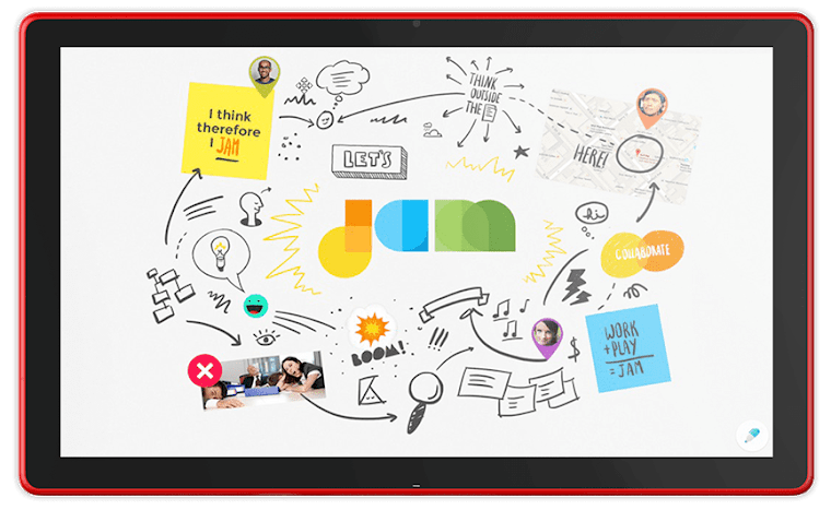 A familiar canvas, rethought for the cloud. - With Jamboard's incredibly responsive and accurate display, it feels natural to draw and sketch the way you would on a traditional whiteboard. Enrich your brainstorm with the best of Google Search and your team's work in G Suite: Grab images and content from the web and bring them straight into your jam; pull in work from Docs, Sheets, and Slides; even add photos stored in Drive.