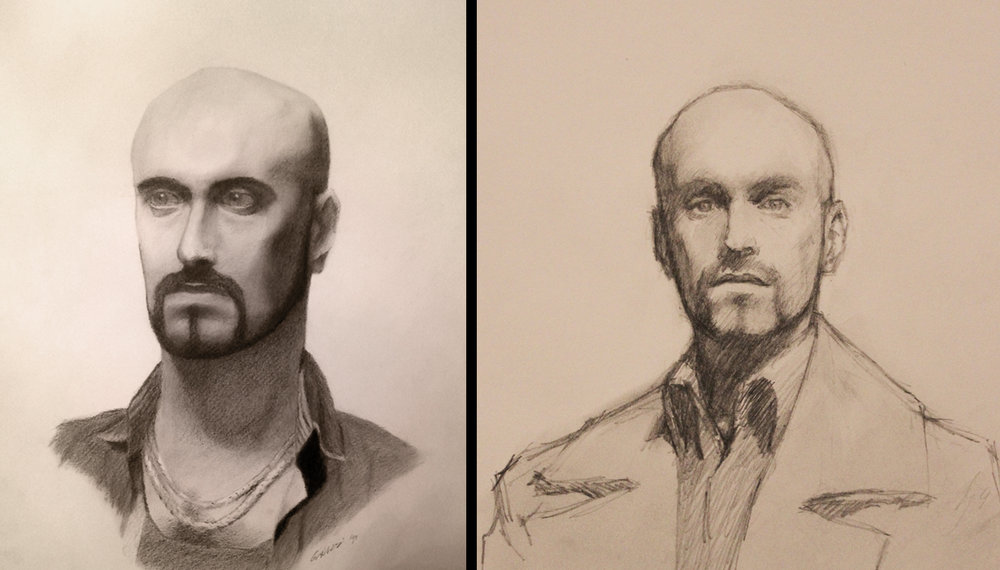 These two drawings I made of my buddy James are around a year apart from each other. The drawing(right) took me 15 to 20 min, while the the other one(left) took me a couple 2 hour sessions of portrait class.